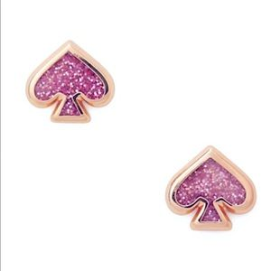 ♠️Kate Spade Glitter Enamel Studs Amethyst Pink